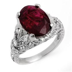 5.60 CTW Rubellite & Diamond Ring 14K White Gold - REF-202N8Y - 11137