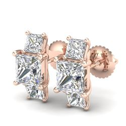 3.08 CTW Princess VS/SI Diamond Art Deco Stud Earrings 18K Rose Gold - REF-668F2M - 37200