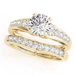 1.5 CTW Certified VS/SI Diamond Solitaire 2Pc Wedding Set 14K Yellow Gold - REF-225M3F - 31720
