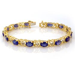 12.05 CTW Tanzanite & Diamond Bracelet 10K Yellow Gold - REF-94T4X - 10904