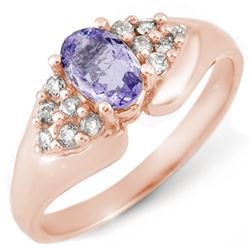0.90 CTW Tanzanite & Diamond Ring 14K Rose Gold - REF-41X8T - 10667