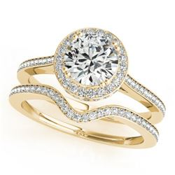 1.80 CTW Certified VS/SI Diamond 2Pc Wedding Set Solitaire Halo 14K Yellow Gold - REF-422T2X - 30815