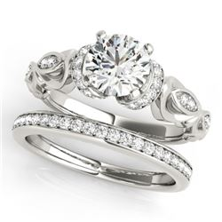 1.15 CTW Certified VS/SI Diamond Solitaire 2Pc Wedding Set Antique 14K White Gold - REF-210K2R - 314