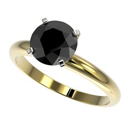 2 CTW Fancy Black VS Diamond Solitaire Engagement Ring 10K Yellow Gold - REF-54M2F - 32937