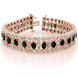 14.50 CTW Emerald & Diamond Bracelet 14K Rose Gold - REF-411X8T - 11516