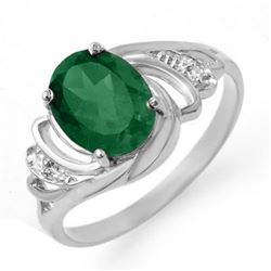 2.14 CTW Emerald & Diamond Ring 18K White Gold - REF-44T4X - 13587