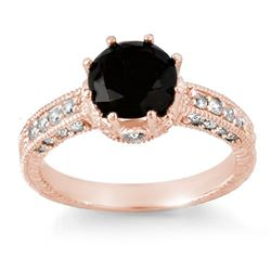2.0 CTW Vs Certified Black & White Diamond Ring 14K Rose Gold - REF-100F2M - 11808
