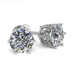 1.55 CTW Certified VS/SI Diamond Stud Solitaire Earrings 18K White Gold - REF-307M8F - 35841