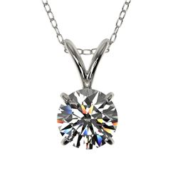 0.72 CTW Certified H-SI/I Quality Diamond Solitaire Necklace 10K White Gold - REF-100K2R - 36736