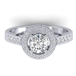 1.45 CTW Certified VS/SI Diamond Art Deco Micro Halo Ring 14K White Gold - REF-217K3R - 30486