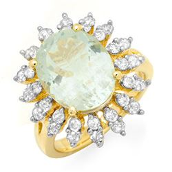 6.08 CTW Aquamarine & Diamond Ring 14K Yellow Gold - REF-166R2K - 13993