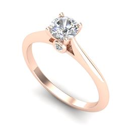 0.56 CTW VS/SI Diamond Solitaire Art Deco Ring 18K Rose Gold - REF-106M8F - 37281