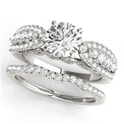 2.26 CTW Certified VS/SI Diamond Solitaire 2Pc Wedding Set 14K White Gold - REF-487K2R - 31907