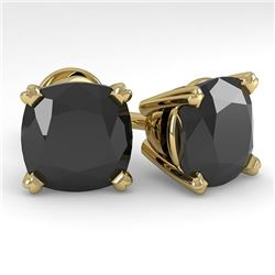 6 CTW Cushion Black Diamond Stud Designer Earrings 14K Yellow Gold - REF-140X4T - 38393
