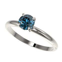 0.75 CTW Certified Intense Blue SI Diamond Solitaire Engagement Ring 10K White Gold - REF-85H5W - 32