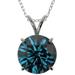 2.50 CTW Certified Intense Blue SI Diamond Solitaire Necklace 10K White Gold - REF-697K8R - 33246