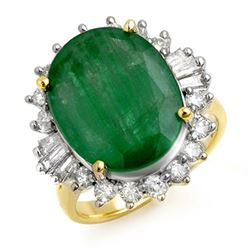 10.07 CTW Emerald & Diamond Ring 14K Yellow Gold - REF-117N8Y - 13216
