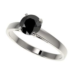 1 CTW Fancy Black VS Diamond Solitaire Engagement Ring 10K White Gold - REF-34H2W - 32984