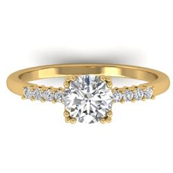 0.93 CTW Certified VS/SI Diamond Solitaire Art Deco Ring 14K Yellow Gold - REF-171W3H - 30458