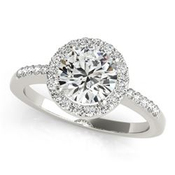 0.50 CTW Certified VS/SI Diamond Solitaire Halo Ring 18K White Gold - REF-69R6K - 26320