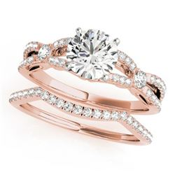 1.5 CTW Certified VS/SI Diamond Solitaire 2Pc Wedding Set 14K Rose Gold - REF-378K2R - 31890
