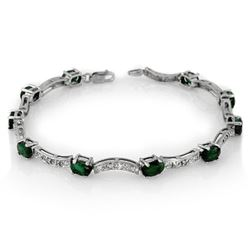 4.25 CTW Emerald & Diamond Bracelet 14K White Gold - REF-78X2T - 10032
