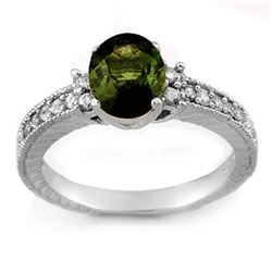 2.17 CTW Green Tourmaline & Diamond Ring 14K White Gold - REF-58W5H - 11442