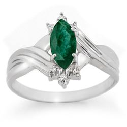 0.57 CTW Emerald & Diamond Ring 18K White Gold - REF-27W6H - 13603