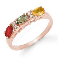 1.10 CTW Multi-Sapphire & Diamond Ring 14K Rose Gold - REF-29F5M - 13659