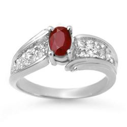 1.43 CTW Ruby & Diamond Ring 14K White Gold - REF-51X6T - 13344