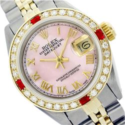 Rolex Ladies Two Tone 14K Gold/ss, Roman Dial with Diam/Ruby Bezel, Saph Crystal - REF-357Z8Y