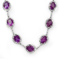 36 CTW Amethyst & Diamond Necklace 14K White Gold - REF-265M3F - 10251