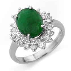 4.85 CTW Emerald & Diamond Ring 18K White Gold - REF-118K2R - 13175