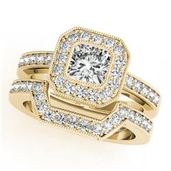 1.05 CTW Certified VS/SI Cushion Diamond 2Pc Set Solitaire Halo 14K Yellow Gold - REF-176R2K - 31381