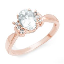 1.06 CTW Aquamarine & Diamond Ring 14K Rose Gold - REF-30W9H - 14402