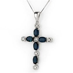 3.15 CTW Blue Sapphire & Diamond Necklace 10K White Gold - REF-33X6T - 10492