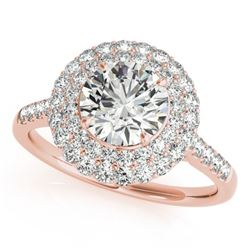 1.5 CTW Certified VS/SI Diamond Solitaire Halo Ring 18K Rose Gold - REF-229X5T - 26453