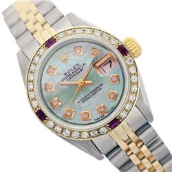 Rolex Men's Two Tone 14K Gold/SS, QuickSet, Diam Dial & Diam/Ruby Bezel - REF-485H5W