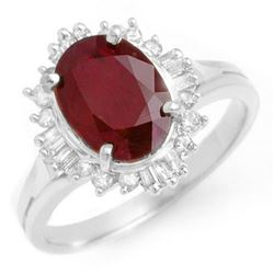 2.55 CTW Ruby & Diamond Ring 18K White Gold - REF-79M3F - 13121
