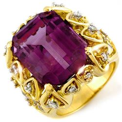 14.40 CTW Amethyst & Diamond Ring 10K Yellow Gold - REF-83W6H - 10192