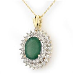 10.11 CTW Emerald & Diamond Pendant 14K Yellow Gold - REF-230M9F - 14206
