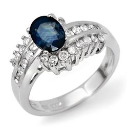 1.75 CTW Blue Sapphire & Diamond Ring 14K White Gold - REF-74K5R - 11890