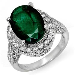 6.50 CTW Emerald & Diamond Ring 14K White Gold - REF-102R8K - 11896