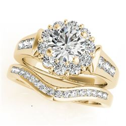 1.56 CTW Certified VS/SI Diamond 2Pc Wedding Set Solitaire Halo 14K Yellow Gold - REF-182T4X - 31246