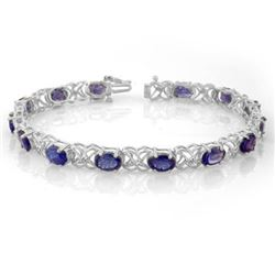12.05 CTW Tanzanite & Diamond Bracelet 14K White Gold - REF-113T8X - 10905