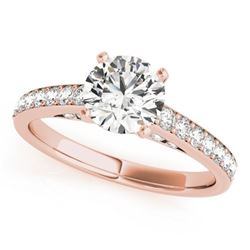 1.5 CTW Certified VS/SI Diamond Solitaire Ring 18K Rose Gold - REF-381W8H - 27469