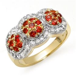 1.50 CTW Red Sapphire & Diamond Ring 14K Yellow Gold - REF-76T2X - 10656