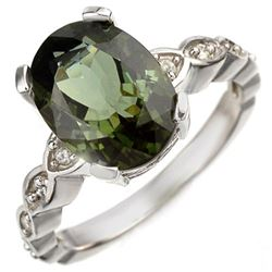 4.25 CTW Green Tourmaline & Diamond Ring 10K White Gold - REF-61H3W - 10035