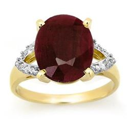 6.50 CTW Ruby & Diamond Ring 10K Yellow Gold - REF-42F8M - 12694