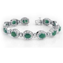 16 CTW Emerald & Diamond Bracelet 14K White Gold - REF-400F2M - 13405